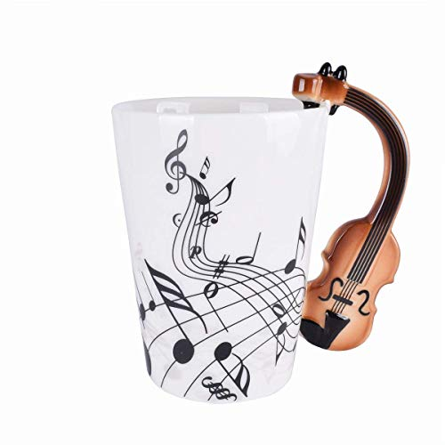Violin Music Unique Handle Art Musical Notes Holds Tea Coffee Milk Ceramic Mug Cup 300ml Best Gift,Black -