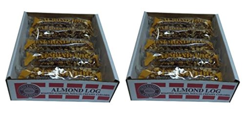 Almond Logs Rolls - Crown Candy, 12 Individually Wrapped 2.5 oz Almond Logs Per Box, (Pack of 2 - 24 logs total)