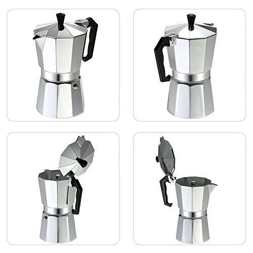 Decdeal 3-12 Cup Stovetop Espresso Maker Aluminum Coffee Stovetop Maker Mocha Pot for Use on Gas or Electric Stove by Decdeal (Image #3)