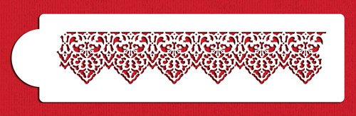 Beige//semi-transparent Designer Stencils C118t Pointed Lace Stencil