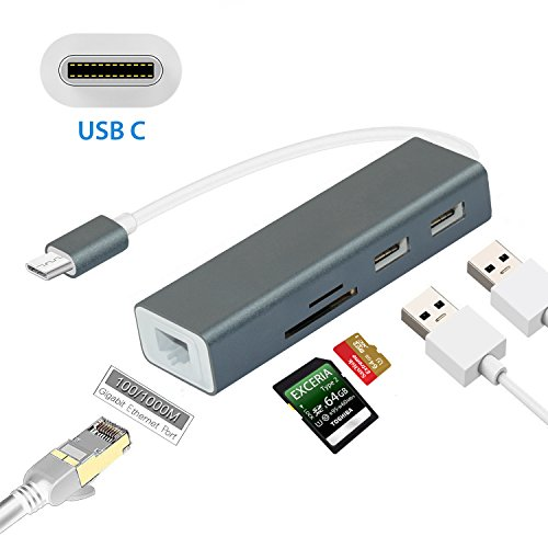 USB Type c Hub Card Reader Adapter, Sicotool Thunderbolt 3 Adapter with Gigabit Ethernet, USB 3.1 Type c to Memory Card Hub SD/TF Lan Network Adapter for New MacBook Router Google Chromebook Pixel (Ethernet Hub Router)