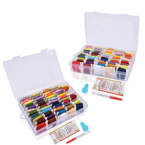Hisome Embroidery Thread 100 Skeins Friendship Bracelets Floss Crafts Floss with Organizer Storage Box, Sewing Needles, Untwist Tool and Needle ()