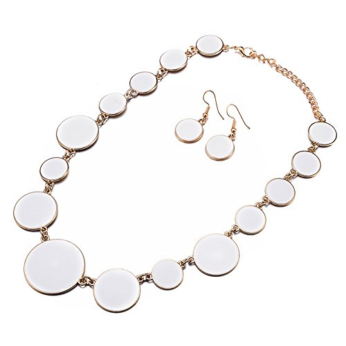 DiLiCa Women Statement Bib Necklace and Earring Set Girl Charm Costume Choker Novelty Enamel Jewelry Set White (White)