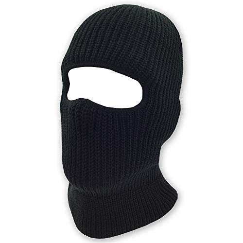 Mens Black Knit Thermal Face Ski Mask One Hole ()
