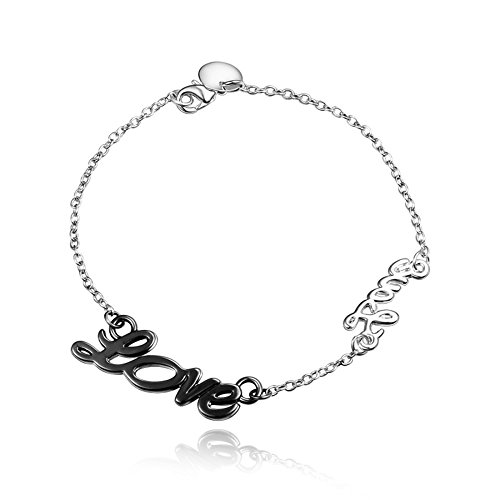 BLOOMCHARM Black Charm Pendant Bracelet Sterling Silver plated, Birthday Gifts for Women Men Friends (Ideas For 80s Fancy Dress)