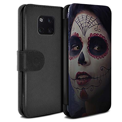 eSwish PU Leather Wallet Flip Case/Cover for Huawei Mate 20 Pro/Halloween Makeup Design/Day of The Dead Festival -