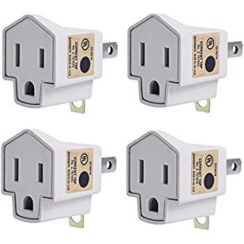 Grounding Adapter 3-2 Prong Plug-JACKYLED UL Listed 2017 New Design Adapter PBT Fireproof Material 200℃ Resistance Heavy Duty 4-pack for Outlets Electrical Household Workshops And Other Appliances