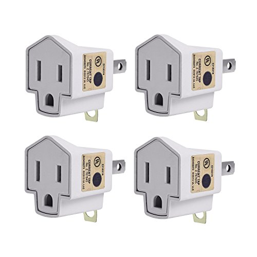 JACKYLED UL Listed 3 to 2 Grounding Adapter 4-pack