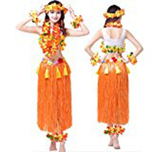 Dance Costumes Clearance (Hawaii Hula Adult Clothing Eight Piece Ballet Suit Dance Performance Costume Dress Skirt Garland Full Sets (Adult, Orange))