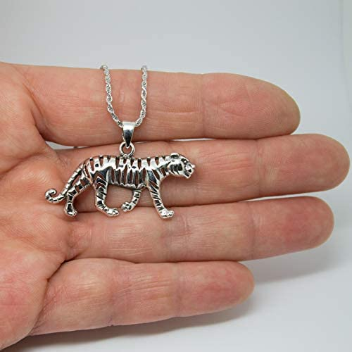 Talismanic Silver of London Pendentif Tigre Majestueux en Argent Massif Sterling 925