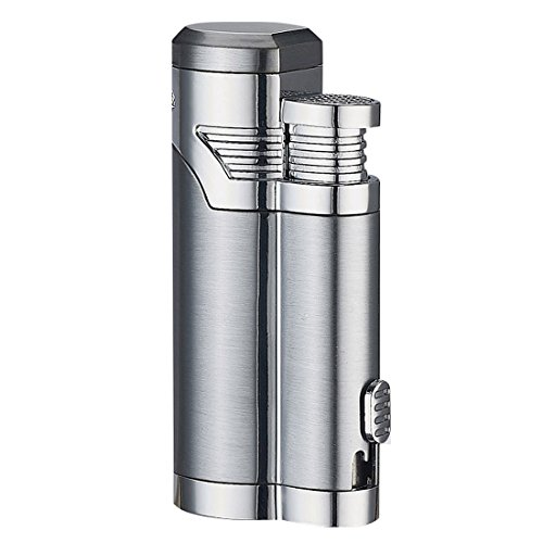 r Cutter Lighter Set, USB Rechargeable Windproof Dual Arc Electronic Cigarette Cigar Lighter, Silver ()