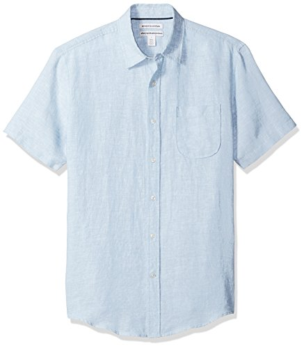 Amazon Essentials Men's Slim-Fit Short-Sleeve Linen Shirt, Light Blue, Large