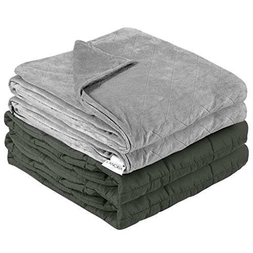 LANGRIA Weighted Blanket 12 lbs with Removable Minky Cover