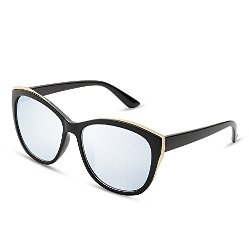 TL de guiar Gafas Espalda polarizadas Redonda Sunglasses para el Cat Flor Lujo de no Señor Mujer a Sol PC del Silver Frame Gafas FrrgIq