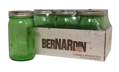 Ball Jar 'Modern Design' Bernardin Mason Jars with Wide Mouth Quart, 6 Pack, 32 oz, Green - Bernardin Mason Jars