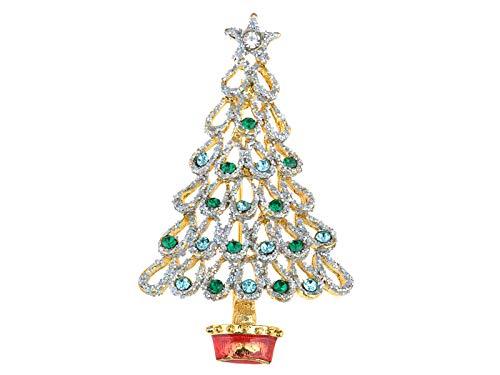 Alilang Glitter Synthetic Emerald Crystal Rhinestone Christmas Tree Holiday Joy Fashion Pin Brooch