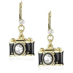 "Betsey Johnson ""Royal Engagement"" Black Camera Drop Earrings"