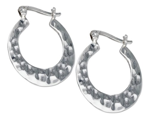 Hammered Round Hoop (Sterling Silver 25mm Flat Round Hammered Hoop Earrings)