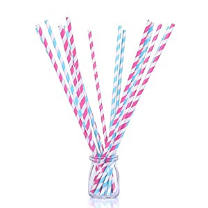 "100 count 13"" Super Long Dual Color Paper Straws of Blue and Pink Strips – Savvy, Elegant and Tasteful for Weddings, Parties and Crafts"