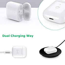 Wireless Charging Case Compatible with AirPods 1 2, Air pods Charger Case Replacement with Bluetooth Pairing Sync Button,no Aipods, White