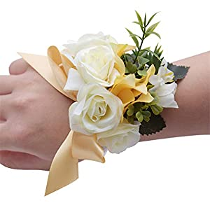 MOJUN Wrist Flower for Bridal Bridemaids Artificial Wedding Flowers Hand Corsage for Wedding Prom Party 88