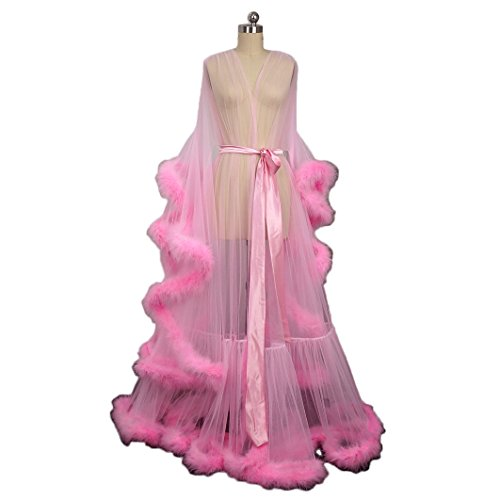 Pink Feather Bridal Robe Tulle Illusion Long Wedding Scarf New Custom Made by i Dui Bridal
