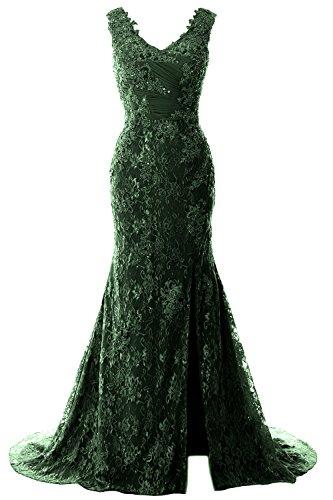 Women Wedding Lace Straps V Mermaid Evening Dunkelgrun Formal Gown Dress Neck Party MACloth dwgfEqd