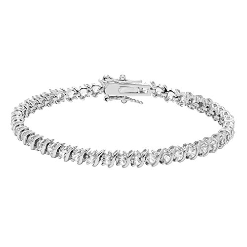 JewelExclusive Sterling Silver Lab Created White Sapphire Bracelet, 7.25'' by JewelExclusive