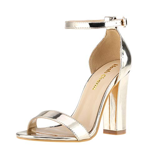 - Women's Strappy Chunky High Heel Ankle Strap Sandals Open Toe Dress Sandal for Wedding Birthday Party Evening Office Shoes Gold Size 9
