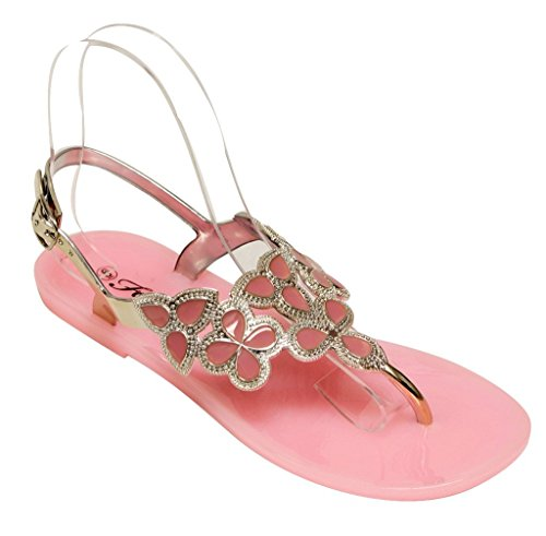 Forever Fairy-25 Womens Floral Golden Crystal Thong Adjustable Ankle Strap Summer Color Rubber Sole Sandals Pink 8.5