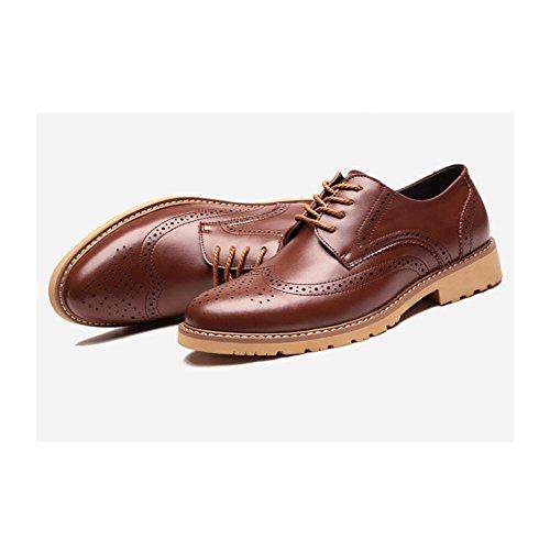 snfgoij Richelieus pour Hommes Glissement Oxblood sur Cuir Bureau Bout Pointu Sculpté en Vrai Cuir Hommes Chaussures Brown vaTjUwJaJ