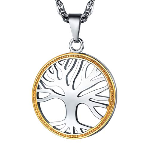 PROSTEEL Tree of Life Necklace Two Tone Gold Plated Stainless Steel Pendant Chain Men Women Jewelry Circle Round Necklace