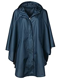 QZUnique Women's Waterproof Packable Rain Jacket Batwing-sleeved Poncho Raincoat