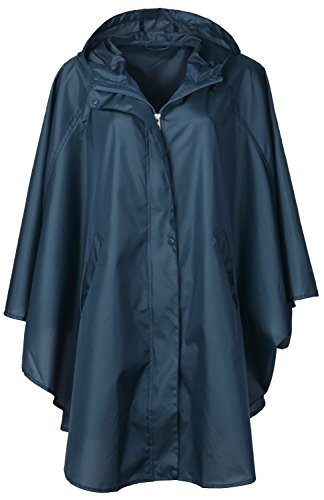 QZUnique Women's Waterproof Packable Rain Jacket Batwing-sleeved Poncho Raincoat,Blue,Onesize by QZUnique