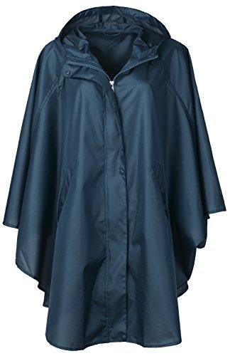 QZUnique Women's Waterproof Packable Rain Jacket Batwing-sleeved Poncho Raincoat,Blue,Onesize