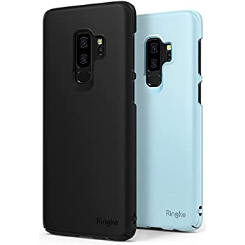 Galaxy S9 Plus Case, Ringke [SLIM Series] [1+1Pack] Dazzling Slender [Laser Precision Cutouts] Fashionable Classy Superior Steadfast PC Hard Skin Cover for Samsung GalaxyS9 Plus- SF Black & Sky Blue