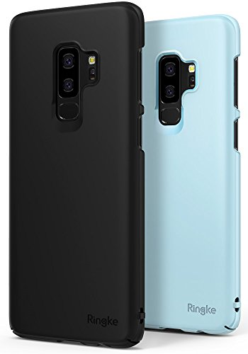 Ringke [Slim] Case Compatible with Galaxy S9 Plus Case [2 Pack] Dazzling Slender [Laser Precision Cutouts] Fashionable Superior Steadfast PC Hard Cover for GalaxyS9 Plus - Black & Sky Blue