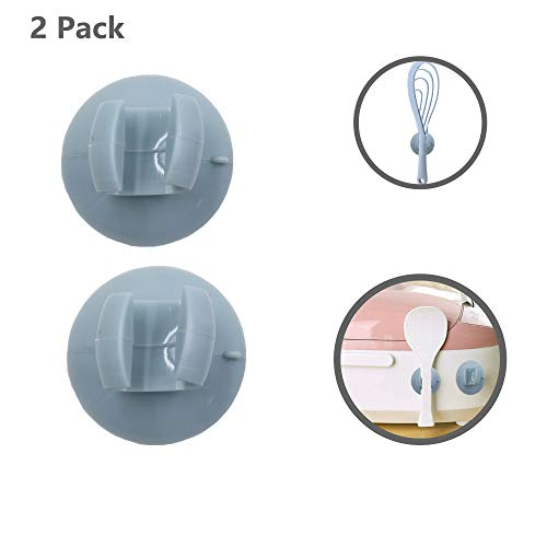 Alovexiong 2 Pack Suction Cup Silicone Wall Hanger Kitchen Cooking Tools Household Silicone Rice Spoon Rest Rack Holder Storage Hanger Kitchen Organizer Tool for Rice Cooker/Spoon Rest/Pot Clip