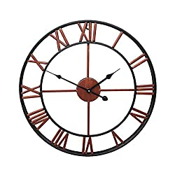 "Lucky Monet 16"" Large Roman Numeral Wall Clock Retro Vintage Round Wall Clock Open Face Mute for Indoor Outdoor Home Décor Office Living Room Café Bar (Brown)"