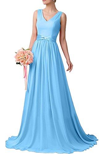 Lang Partykleider Chiffon A Braut Linie Blau 2 La Herrlich mia Hell Fuchsia Abendkleider Brautjungfernkleider Ballkleider 0fPZcq