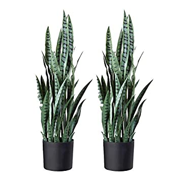 Image of Home and Kitchen Fopamtri Artificial Snake Plant 38 Inch Fake Sansevieria Trifasciata with 32 Leaves Faux Plant for Indoor Outdoor Feaux Plants in Pot for Home Office Perfect Housewarming Gift (38 Inch, 2 Pack, Green)