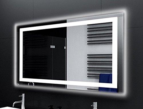 Badspiegel Designo MA4113 mit A++ LED Beleuchtung - (B) 80 cm x (H) 60 cm - Made in Germany - Technik 2019 Badezimmerspiegel Wandspiegel Lichtspiegel TIEFPREIS rundherum beleuchtet Bad Licht Spiegel
