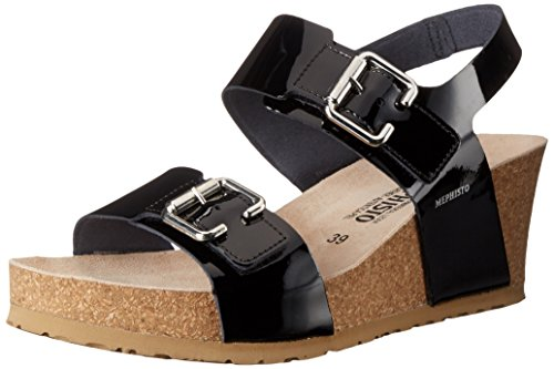Mephisto Women's Lissandra Platform Dress Sandal, Black Patent, 9 M US