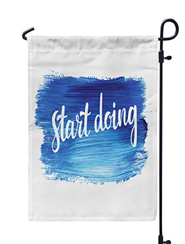 Soopat Just Do It Seasonal Flag, Start Creative Watercolour Oil Splash Weatherproof Double Stitched Outdoor Decorative Flags for Garden Yard 12''L x 18''W Welcome Garden Flag ()