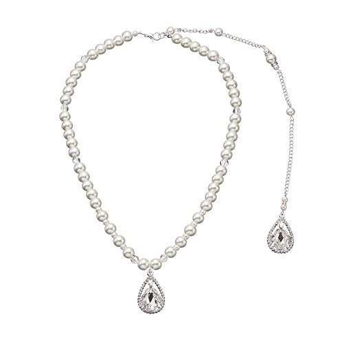 Backdrop Necklace (Miallo Imitation Pearls Tassel Backdrop Necklace Body Chain Wedding Jewelry Backless Dress Accessories (NS-J6023))