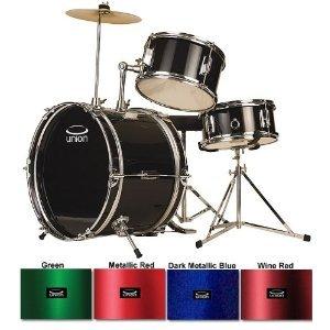 Union UJ3 3-Piece Junior Drum Set with Hardware, Cymbals, and Throne - Metallic Dark Blue