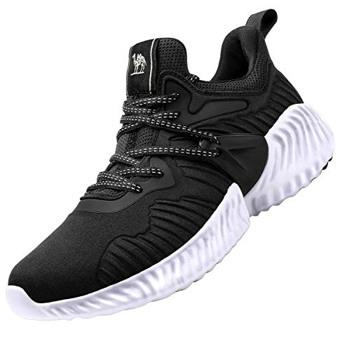 (CAMEL CROWN Womens Trail Running Shoes Lightweight Fashion Mesh Walking Workout Tennis Athletic Casual Slip on Sneakers Black 7.5)