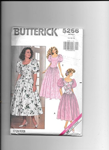 - Butterick 5266 Sewing Pattern for Misses 14 16 18 Drop-princess-bodice Scoop Neck Gallon Sleeve Dress with Attached Gathered Skirt in Long or Lower Calf Lengths