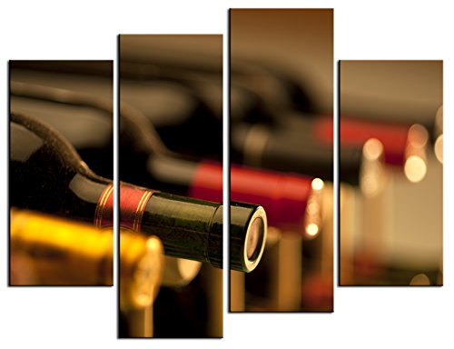 SmartWallArt – Wine Paintings Wall Art a Row of Red Wine on the Wine Rack 4 Pieces Picture Print on Canvas for Modern Home Decoration
