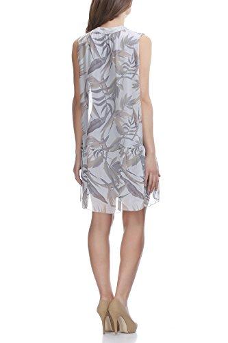 Laura Moretti - Vestido de seda con estampado de flores y hojas Gris
